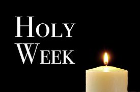 image of holy  - a lit candle and the text holy week written in white on a black background - JPG