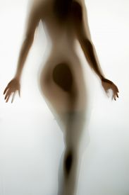 picture of girl walking away  - Blurred photo of sexy naked woman from back walking away - JPG