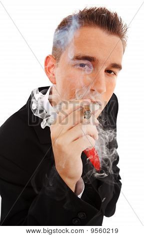 Young Man In Smoke Cloud