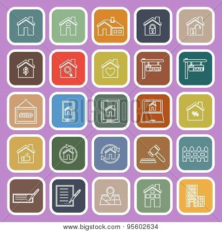 Real Estate Line Flat Icons On Violet Background