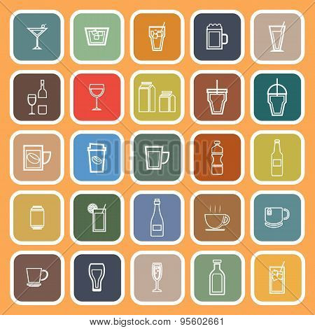 Drink Line Flat Icons On Orange Background