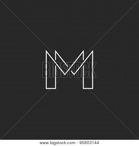 M Letter Thin Line Monogram Logo, Modern Design For Business Card
