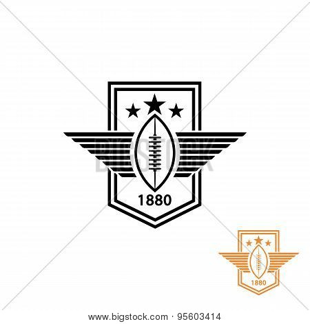 American Football Or Rugby Ball With Wings And Star Sport Logo, T-shirt Print Emblem