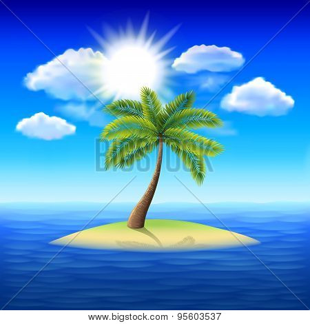 Palm Tree On Uninhabited Island Vector Background