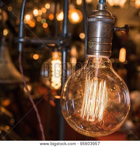 Vintage Electric Carbon Light, Amber Bulb Filament