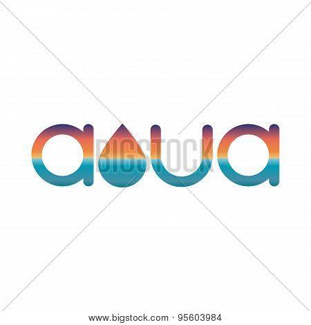 Sunset Or Sunrise Mockup Logo, Aqua Or Watter Element Of Design Summer Poster