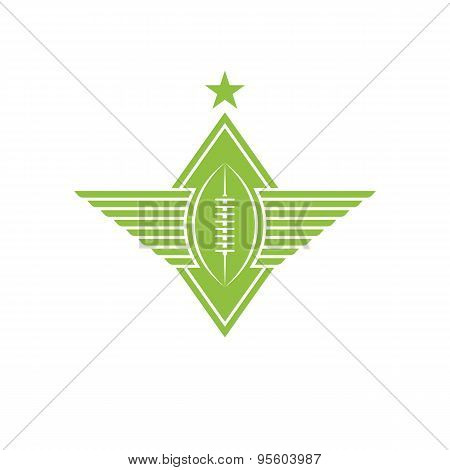 Ball With Wings Logo, American Football Or Rugby Emblem For T-shirt Print