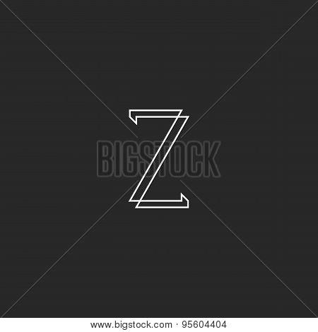Letter Z Elegant Monogram Mockup Logo, Thin Line Design Business Card
