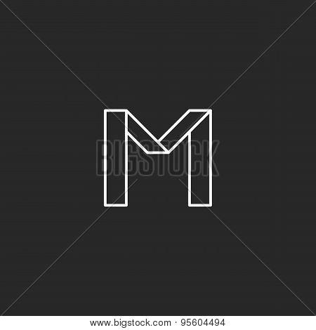 Monogram Letter M Logo, Minimal Line Graphic Style