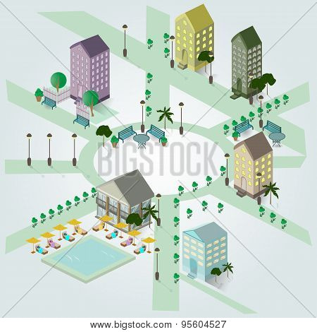 Isometric Image Of A Fragment Of The City, Houses, Swimming Pool, Sun Loungers, Benches, Lights .. O