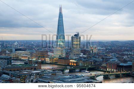 LONDON, UK - JANUARY 27, 2015: Shard of Glass, panoramic view City of London