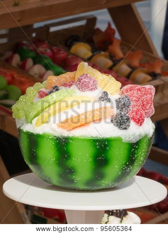 Sweet Pastry Imitation With Watermelon Plant: Wax Fruits Candles Cake