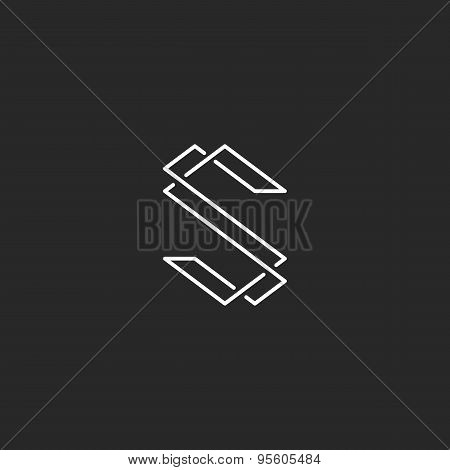 Thin Line S Letter Logo, Elegant Monogram For Business Card
