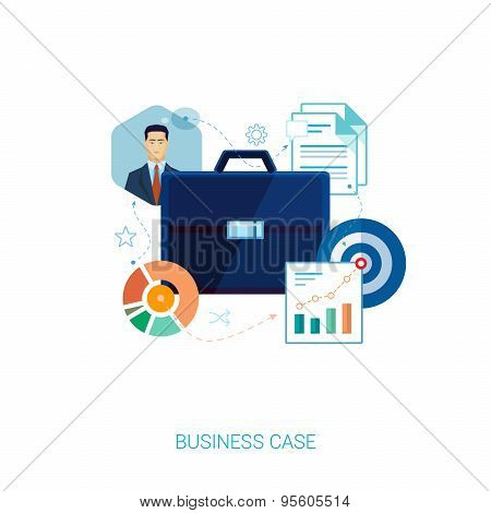 Busines suit case and presentation flat icons.