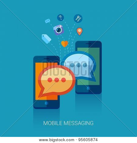 Mobile messaging, im and social chat or sms flat icons illustration