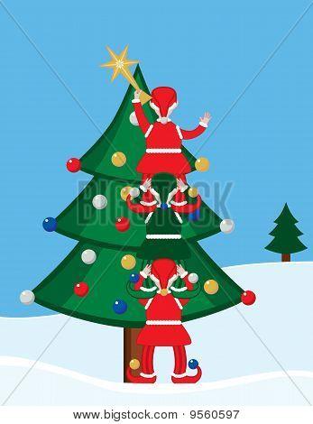 Elves Decorating a Christmas Tree