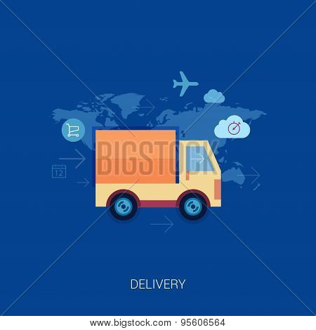 Online shopping and purchase delivery. Lorry or truck over world map flat icons illustration