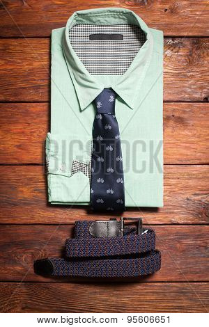 Men's Shirt, A Tie With A  And A Belt