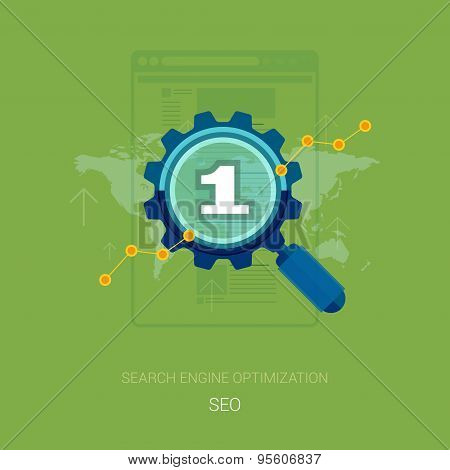 Search engine optimization process vector illustration. Flat design icons for seo and sem concept.