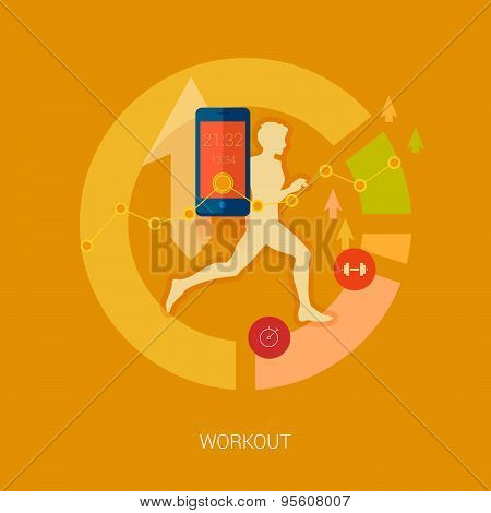 Quanitified self, activity and sport mobile tracking infographic icons.