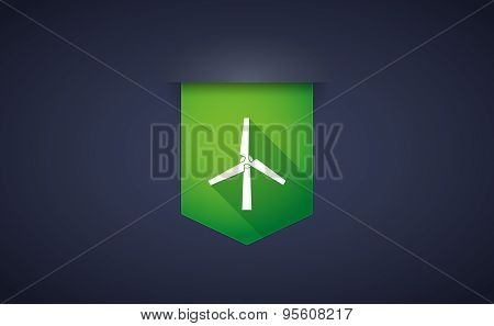 Long Shadow Ribbon Icon With A Wind Generator