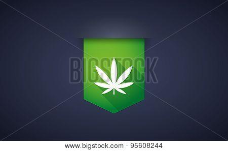 Long Shadow Ribbon Icon With A Marijuana Leaf