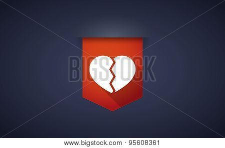 Long Shadow Ribbon Icon With A Broken Heart