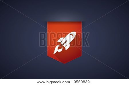 Long Shadow Ribbon Icon With A Rocket