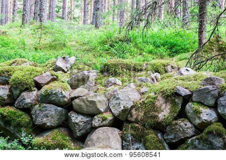 Ancient Piles Of Stones In The Forest Making Up A Wall