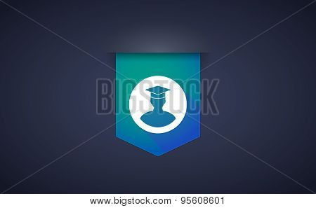 Long Shadow Ribbon Icon With A Student