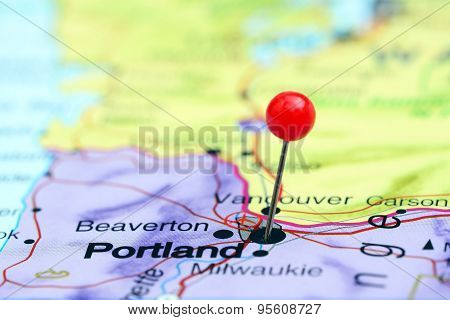 Portland pinned on a map of USA