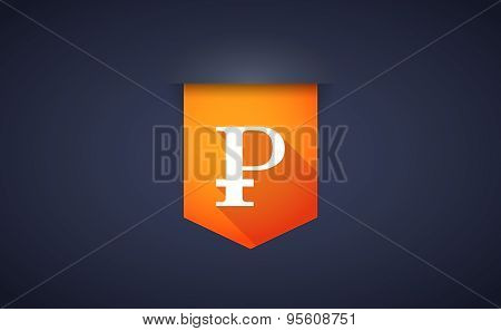 Long Shadow Ribbon Icon With A Ruble Sign