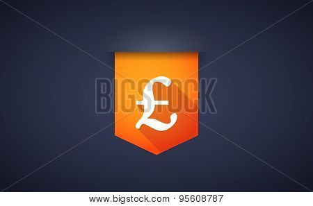 Long Shadow Ribbon Icon With A Pound Sign