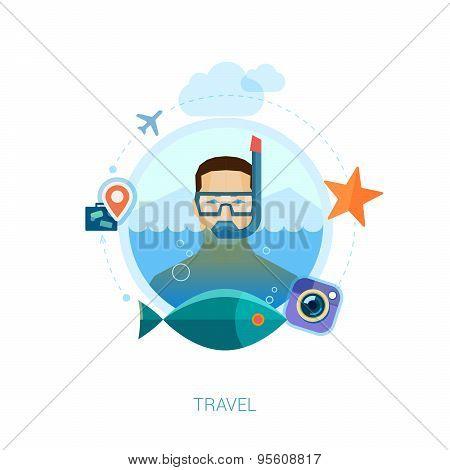 Travel on the sea flat icons illustration