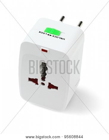 Portable Universal Traveler Adapter on White Background