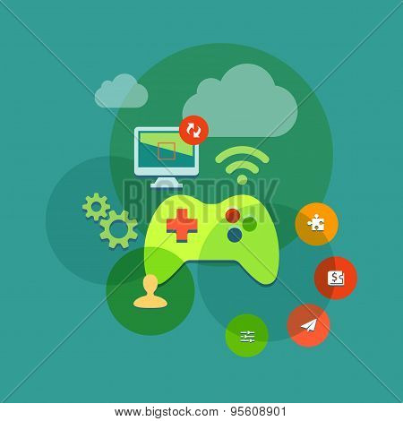 mobile and console games flat icon illustration