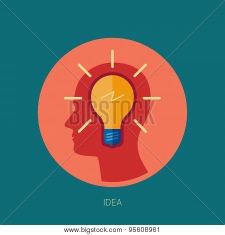 Idea generation adn brain storming flat icon