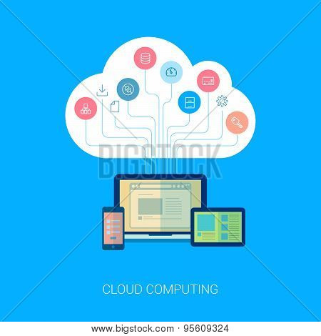 Saas cloud network and device analytics flat icon illustation