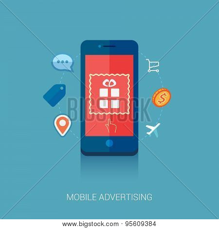Mobile ad on smartphone flat icon illustration