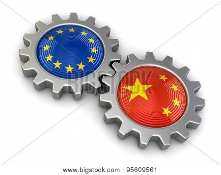 Chinese and European union flags on a gears (clipping path included)