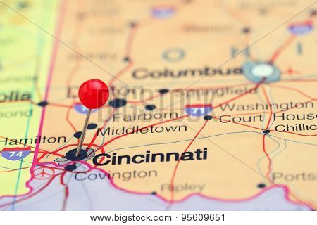 Cincinnati pinned on a map of USA
