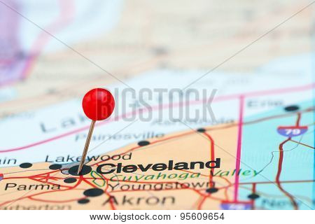 Cleveland pinned on a map of USA