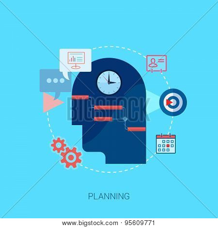 Project management flat icons illustration.