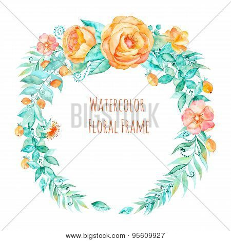 Vector watercolor colorful round frame,floral wreath with spring-summer flowers and central white co