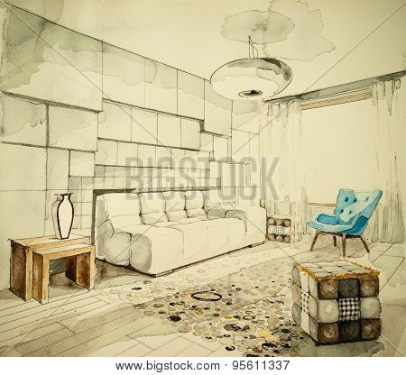 Watercolor aquarelle and ink freehand sketch perspective architectural drawing of a living room