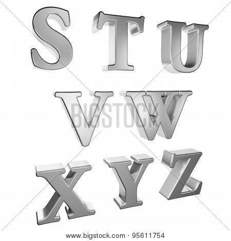 Silver alphabet S to Z