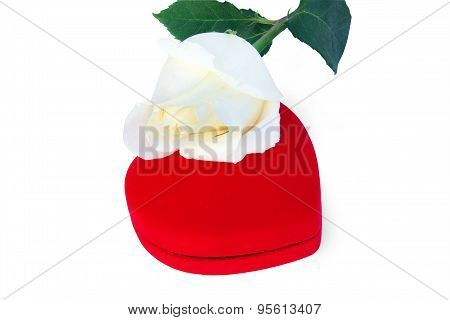 White Rose And Red Box In A Heart Shape
