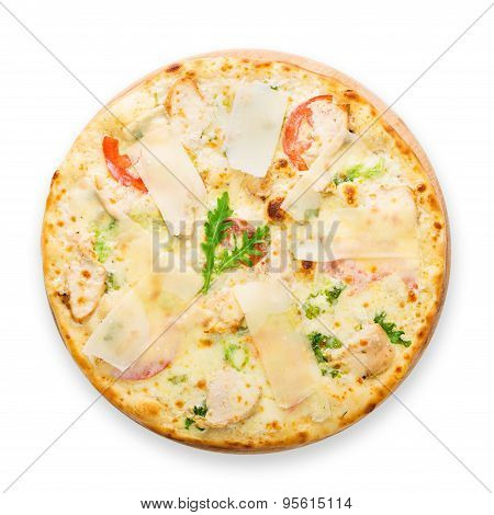 Delicious Pizza With Chicken, Parmesan And Fresh Arugula
