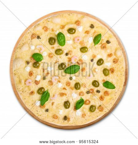 Delicious Seafood Pizza With Olives