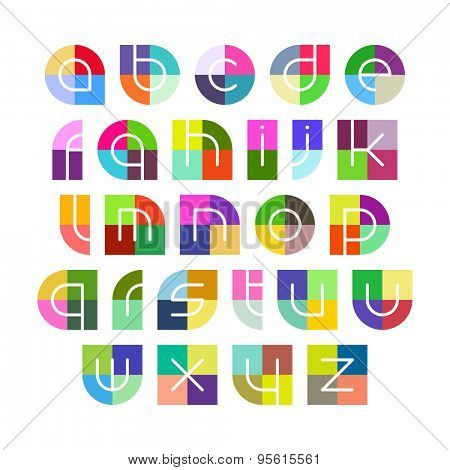 Linear alphabet letters with colorful background vector illustration